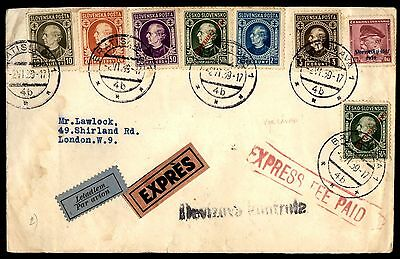 1939 Slovakia Express Fee Paid Airmail To London Cover