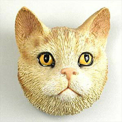 Red Orange Tabby Cat Head Painted Stone Resin MAGNET