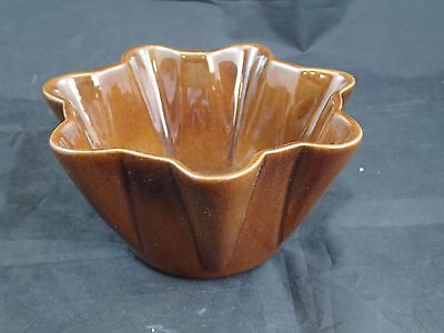 Frankoma Pottery Fluted Bowl Planter Jardiniere F33 - Coffee Mocha Brown