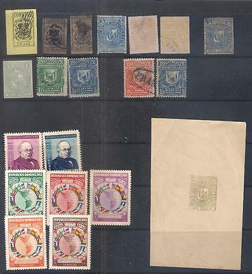 DOMINICAN REPUBLIC selection of stamps  on stock leaf inc. earlies & Proof/Essay