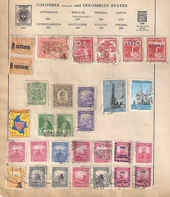 602 COLOMBIA  selection of stamps on various album leaves