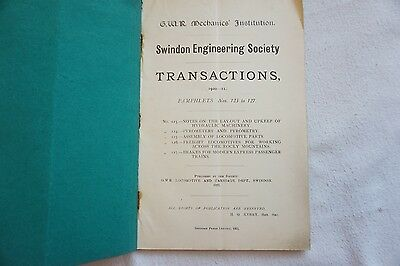 1920 GWR Swindon Engineering Society Transactions Book Technical Loco Data