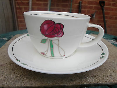 """Dunoon  """"Heensburgh"""" in the Style of Mackintosh LARGE Bone China Cup and Saucer"""