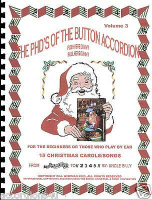 Button Accordion, Christmas Carols & Songs Book, Easy Fun  Play By Numbers Bk.