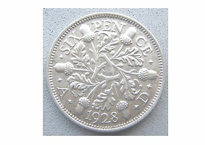 Good Grade 1928 George V Sixpence, 0.500 Silver