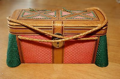 Antique Child's? Sewing Basket Pink/Green Fabric Cover w/ Leather Trim & Handles