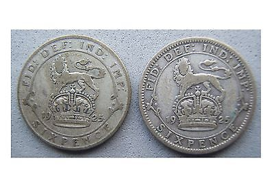 George V 1925 Sixpences - Narrow & Wide Rim Types, 0.500 Silver