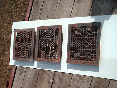 3 Antique Cast Iron Heat Register Grate Lot Old Louvers Floor 1800's House decor