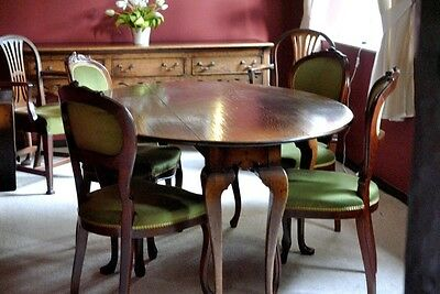 Vintage 18th Century Style 6 legged Oak Table with 2 leaves + 4 Carved Chairs