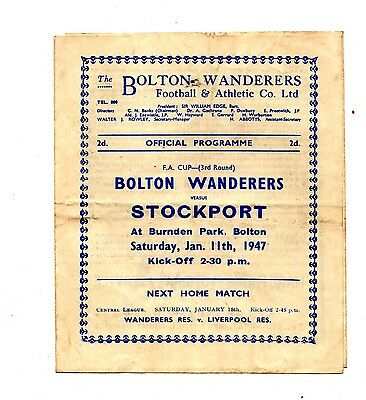 1946-1947 Bolton Wanderers v Stockport County FA Cup