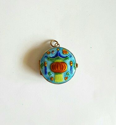 Vintage Estate Sterling Silver Enamel Guilloche Chinese Lantern Locket Pill Box