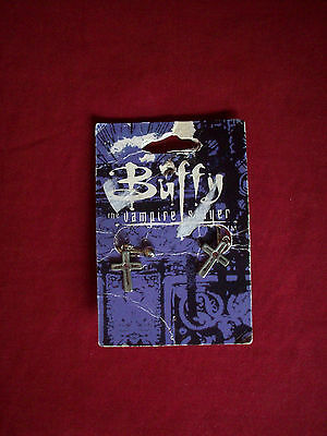 Buffy Vampire Slayer Crucifix Pewter Clip-On Earrings 1999 NEW BUT UNCARDED
