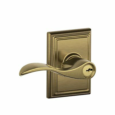 Schlage F51A ACC 609 ADD Addison Accent Keyed Entry Lever, Antique Brass