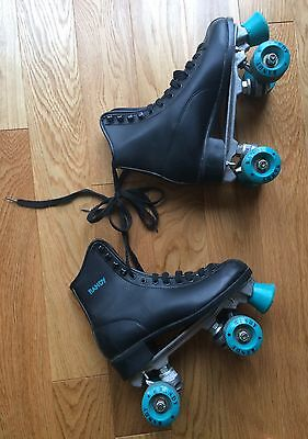 Black Roller skates Green Wheels & Stoppers Randy Adult Size 4 (37) Retro Disco