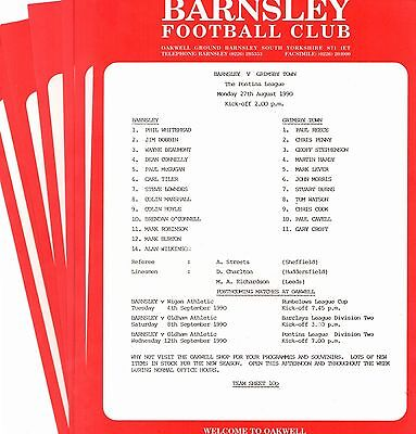 1990-1991 Barnsley Reserves Homes - select the one you want POST FREE