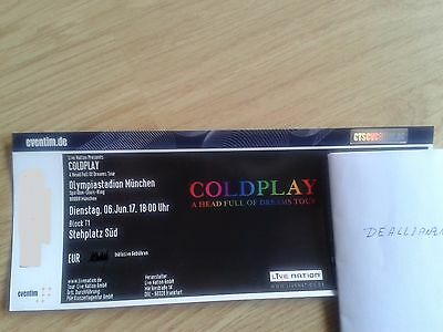 COLDPLAY a Head Full of Dreams Tour Ticket München Olympiastadion 06.06.17 Karte