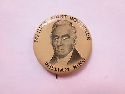 Celluloid Pinback Commemorating William King as First Governor of Maine
