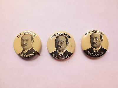3 Celluloid Pinbacks for William T. Haines for Governor of Main in 1912 & 1914