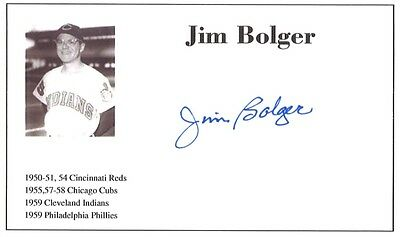 Baseball player Jim Bolger autographed 3x5 with photo on card 1950-59