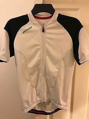 Specialized White Full Zip Cycling Jersey Short Sleeved Size M