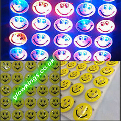 2 x Multicolour Flashing Smiley Badges - Brand New