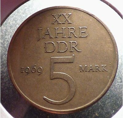 East Germany, DDR, 5 Mark 1969, VF Coin, 20th Anniversary Commemorative, KM 22.1