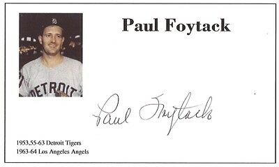 Baseball player Paul Foytack autographed 3x5 with photo on card 1953-64