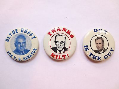 Three celluloid Pinbacks from North Dakota, Clyde Duffy, Milt Young, William Guy
