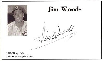 Baseball player Jim Woods autographed 3x5 with photo on card 1957-61