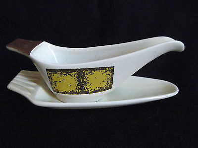 Crown Devon Fieldings Vintage Sauce Boat- Abstract yellow/brown pattern