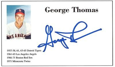 Baseball player George Thomas autographed 3x5 with photo on card 1957-71