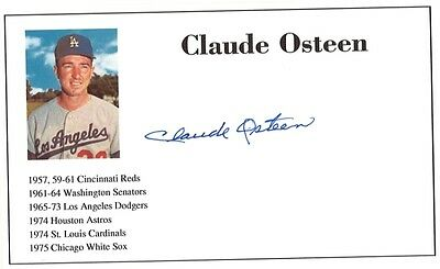 Baseball player Claude Osteen autographed 3x5 with photo on card 1957-75