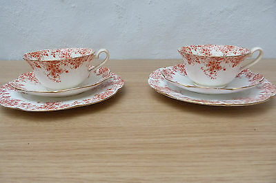 Pair Of Antique Wileman Foley Pre Shelley Red And White Trios.