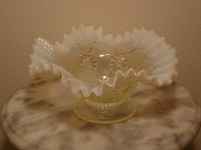 Northwood White Opalescent Blossoms & Web Novelty Bowl