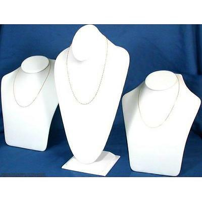 3 White Faux Leather Necklace Chain Bust Display