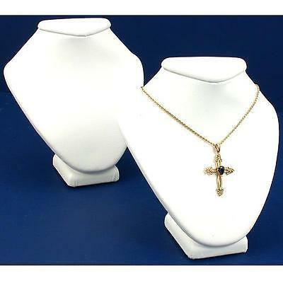 """2 White Faux Leather Necklace Bust Jewelry Display 4.5"""""""