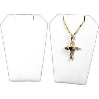 2 Necklace Pendant Chain White Faux Leather Stand