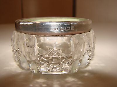 """Vintage - 1912 Silver Topped Cut Glass Bowl - Hall Marked - 2"""" Diameter"""