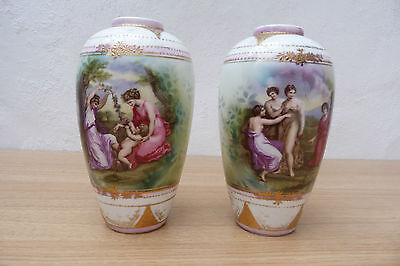 Pair Of Very Nice Antique 19Th Century Vienna Vienna Style Vases.
