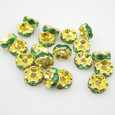 NEW for Jewelry 100pcs 8MM Size Plated golden crystal spacer beads Green colors