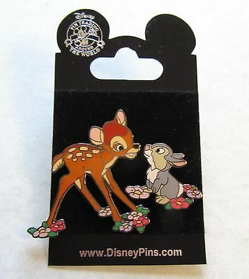 Disney Around the World Trading Pin- Bambi and Thumper- two pin set- flowers