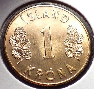Iceland 1 Krona 1971, XF+ Coin w/ Guardians - Giant, Dragon, Bull & Eagle, KM12a