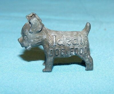 Vintage Ideal Dog Food Advertising Figural Cast Metal Good Luck Puppy Premium