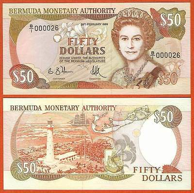P38  Bermuda  50  Dollar  1989  Low Nr. !!!!  UNC