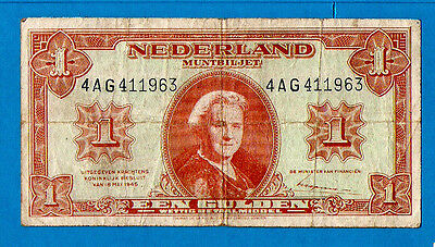 Netherlands P70 1 Gulden STATE NOTES Queen Wilhelmina 18.5.1945 VF