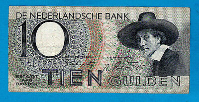 "EX RARE ""TYPE 1"" Netherlands P59 10 Gulden MAN WITH HAT 4.1.1943 VF+"