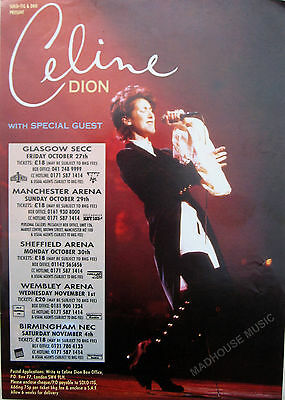 CELINE DION Flyer DEUX TOUR 1995 A5 Glossy PROMO Poster Manchester Wembley