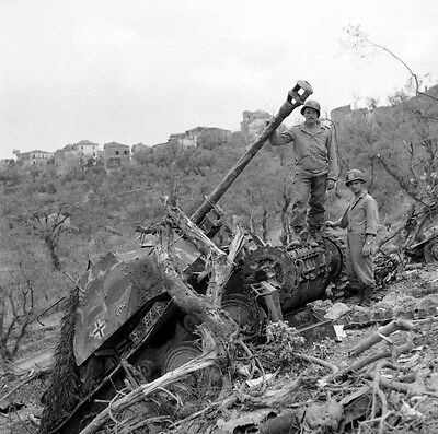 WW2 Photo WWII  Destroyed German Armor in Italy 1944 World War Two  / 4128