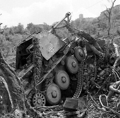WW2 Photo WWII  Destroyed German Armor in Italy 1944 World War Two  / 4130