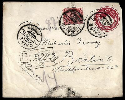 EGYPT 1899 CAIRE FEB 16TH TO BERLIN 3 Stamps COVER